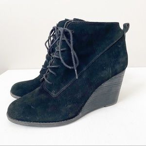 Lucky Brand Yoanna Oiled Suede Black Wedges